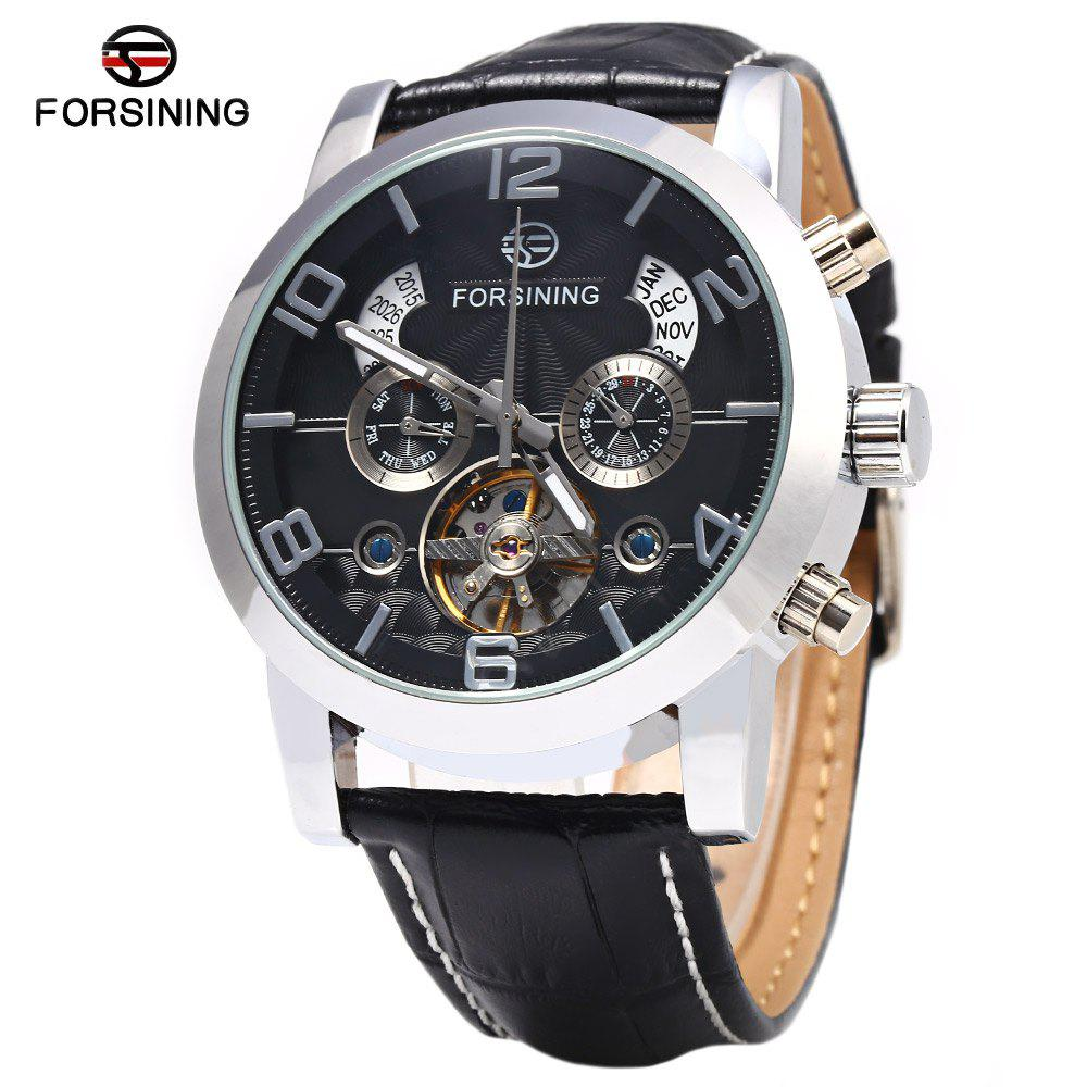Forsining A165 Men Tourbillon Automatic Mechanical Watch Leather Strap Date Week Month Year Display - BLACK