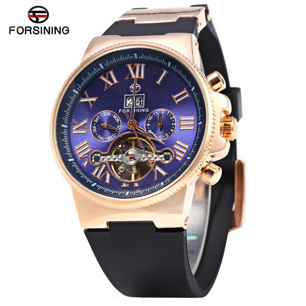 Forsining 2373 Men Tourbillon Automatic Mechanical Watch Rubber Strap Date Week Month Display - ROSE GOLD/BLACK/BLUE