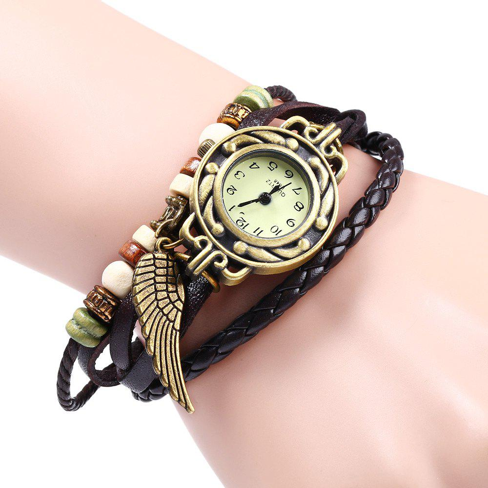 Quartz Watch with Wing Design Round Dial and Leather Watch Band for Women - BROWN