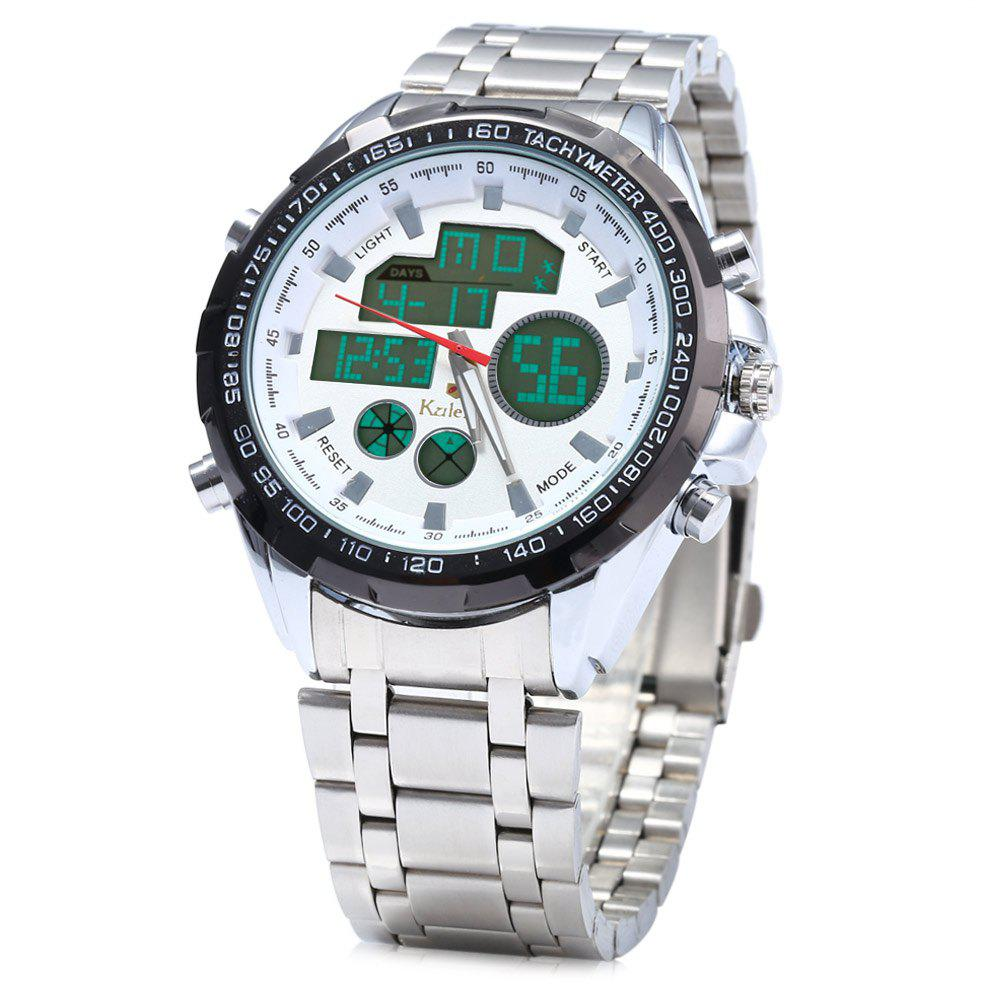 Kaletco 019C Multifunctional Men LED Sports Watch Stainless Steel BandWatches<br><br><br>Color: WHITE