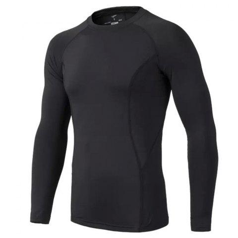 Male Slim Fitness manches longues Polyester + Spandex Made - Noir L