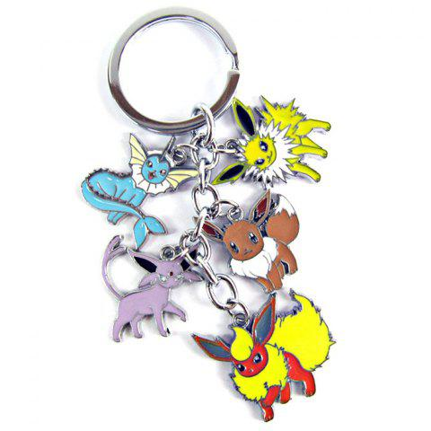 5 en 1 MEI KA Porte-clés Pendentif Pokemon Pocket Monster Metal Key Chain - Coloré