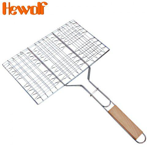 Hewolf 1297 Non-Stick Rectangle Grill Basket for Barbecue - SILVER