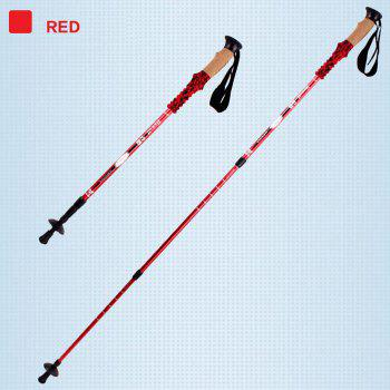 Buy Hewolf Three Sections Telescopic Alpenstock Straight Handle RED