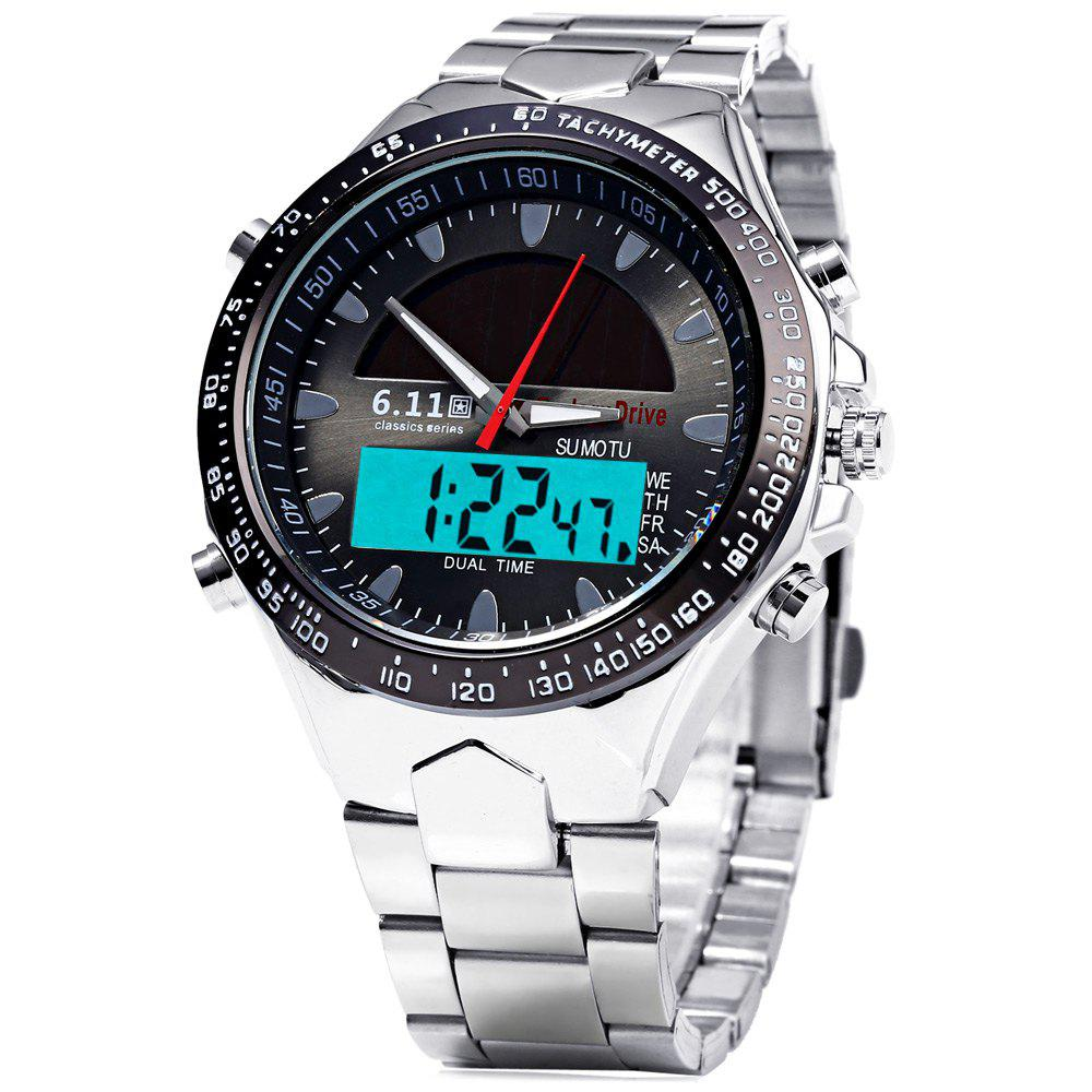 6.11 1272 Solar Power LED Watch with Stainless Steel Band - BLACK