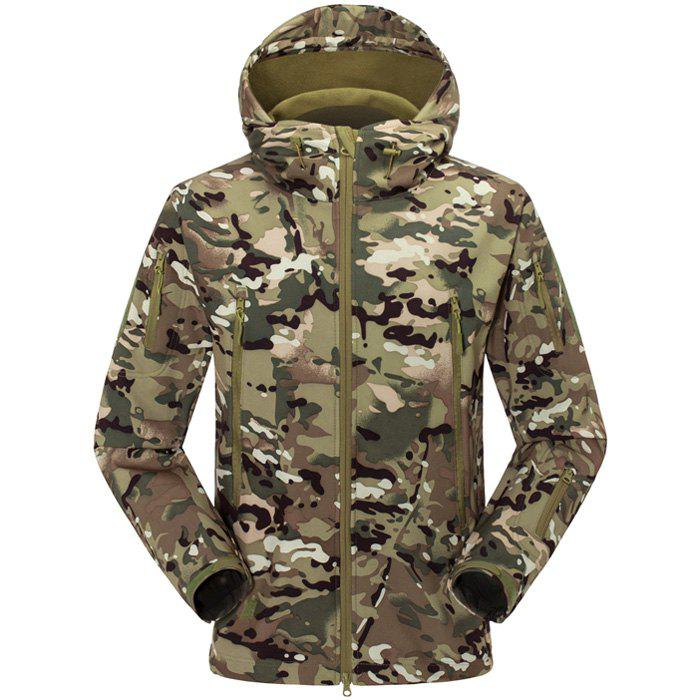 Male Fleece Hooded Jacket with Draw CordHome<br><br><br>Size: L<br>Color: CP CAMOUFLAGE