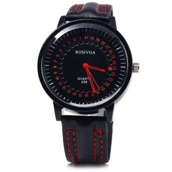 ROSIVGA 258 Leather Band Men Quartz Watch - RED