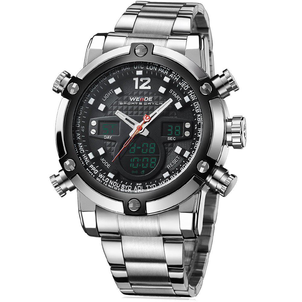 Weide 5205 Men LED Sports Watch with Stainless Steel Band - BLACK
