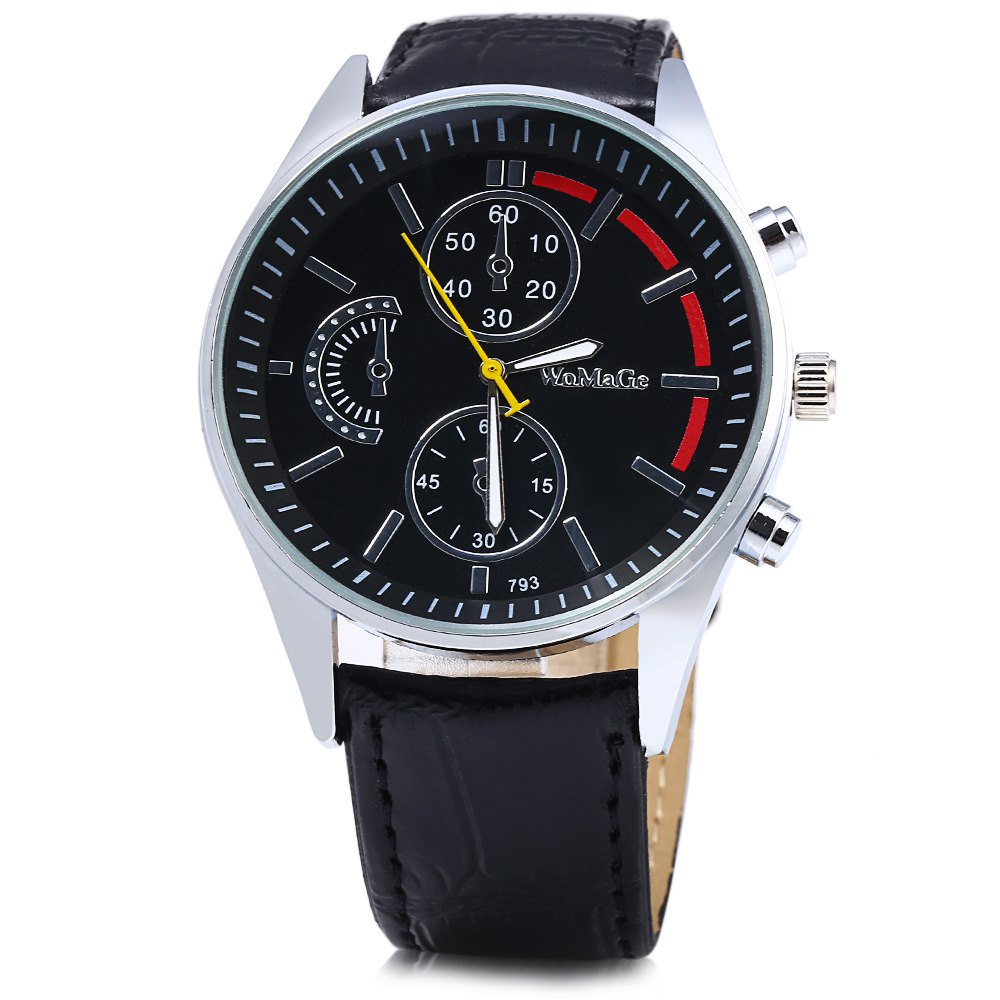 Womage 793 Decorative Sub-dial Men Quartz Watch - BLACK