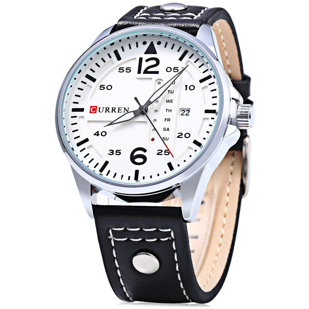 Curren 8224 Men Quartz Watch with Day Date Display - WHITE/BLACK