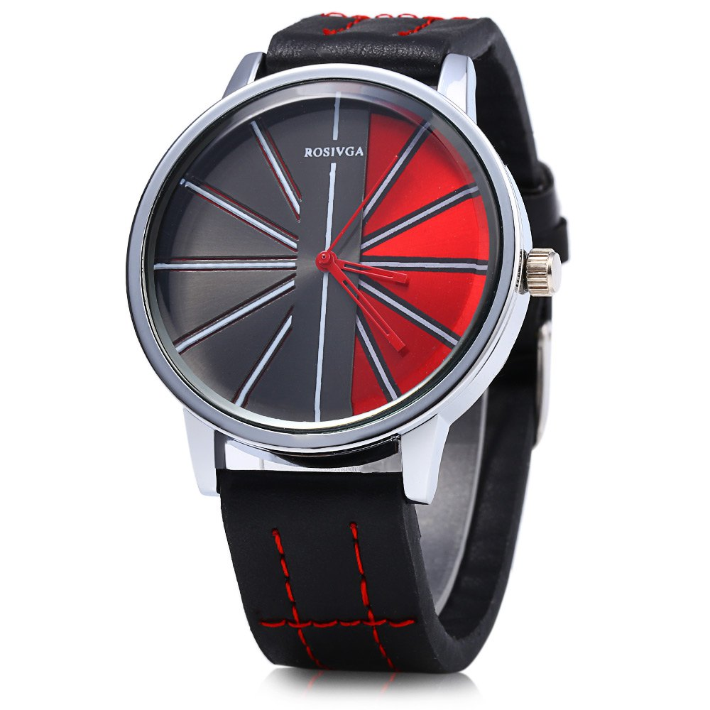ROSIVGA 257 Leather Strap Men Quartz Watch - BLACK