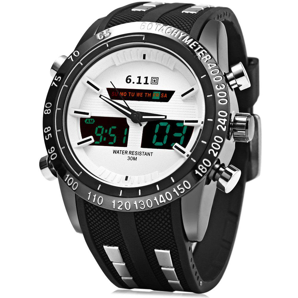 6.11 8150 Multifunctional Men LED Sports Watch with Rubber Band - WHITE
