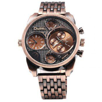 Oulm Unique Waterproof Quartz Watch with Double Movt Analog Indicate Steel Watchband for Men - RED BRONZED