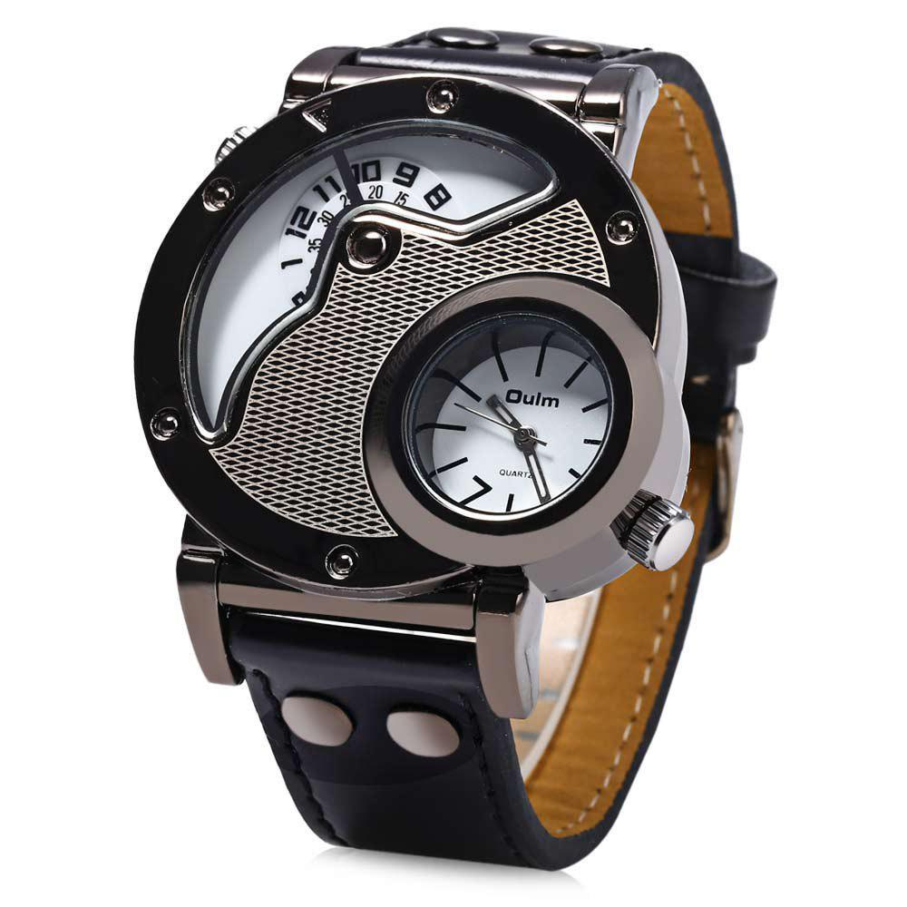 Oulm Men's Quartz Cool Military Wrist Watch Dual Movt Round Shaped Leather Band - BLACK / MESH PATTERN