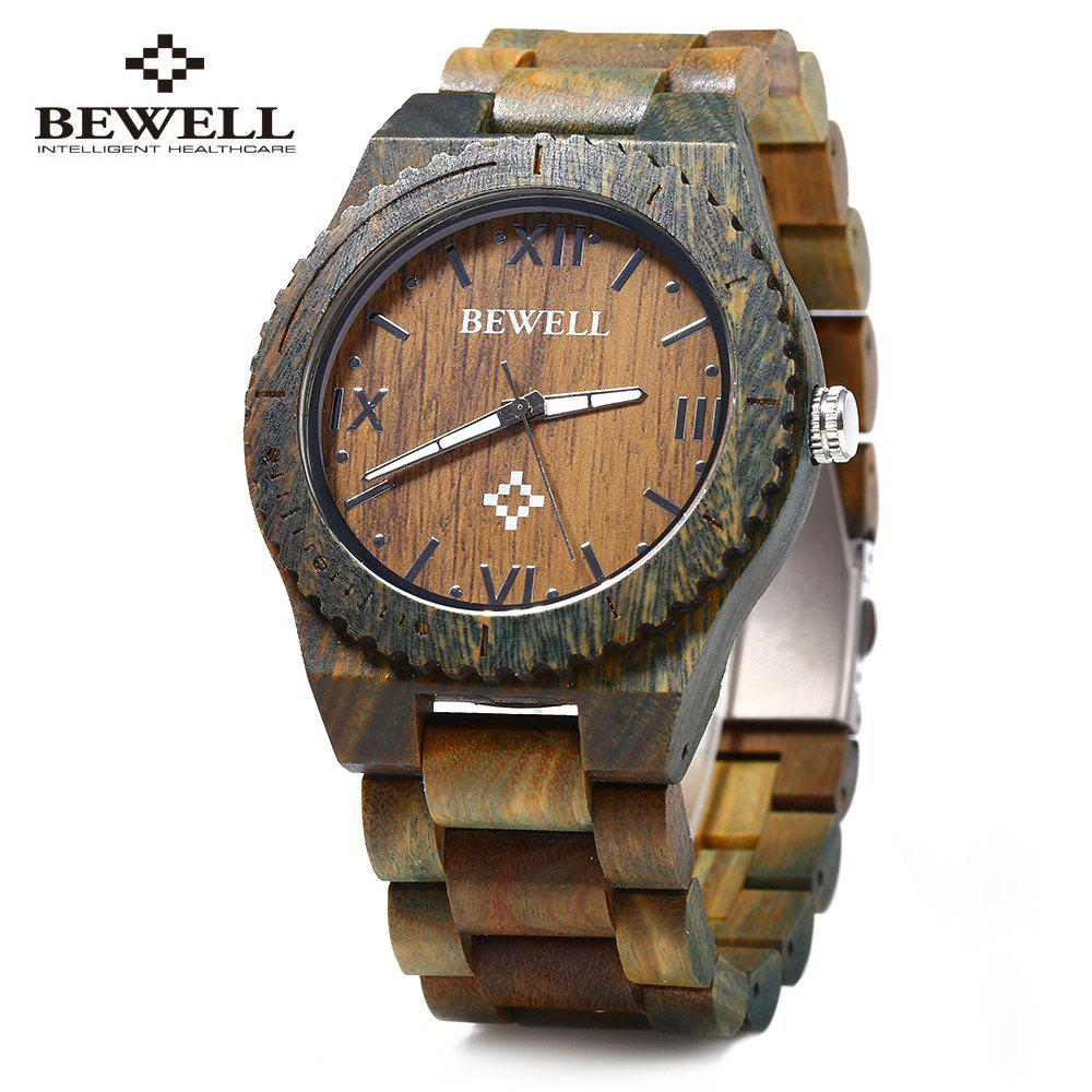 Bewell ZS - W065A Wood Men Quartz Watch Roman Numeral Scales