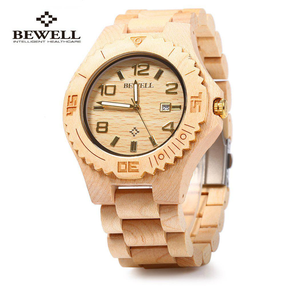 Bewell ZS-W023B Wooden Quartz Watch for Men Date Display Luminous Pointers - GOLD / WHITE