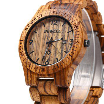 Bewell ZS - W086B Wood Men Watch Analog Quartz Movement Date Display - ZEBRA WOOD