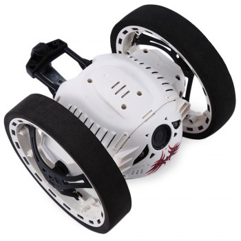 PEG SJ88 2.4GHz RC Bounce Car with Flexible Wheels Rotation LED Light - WHITE