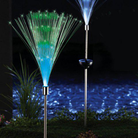 2PCS Solar Power Fiber Garden Stake Light Color Changing Decorative Path Lamp - WHITE