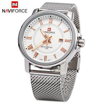 Naviforce 9052 Men Quartz Watch Stainless Steel Band Date Display