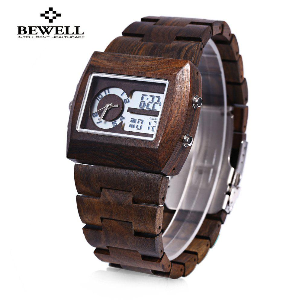 BEWELL ZS-W021A Bamboo Wooden Men Quartz Watch with Double Movement Luminous Display - EBONY WOOD