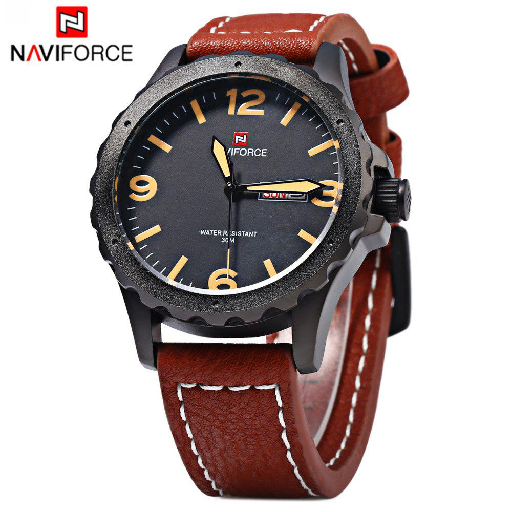 Naviforce 9039 Men Sports Watch Quartz Wristwatch Day Date Leather Strap - BLACK/BROWN