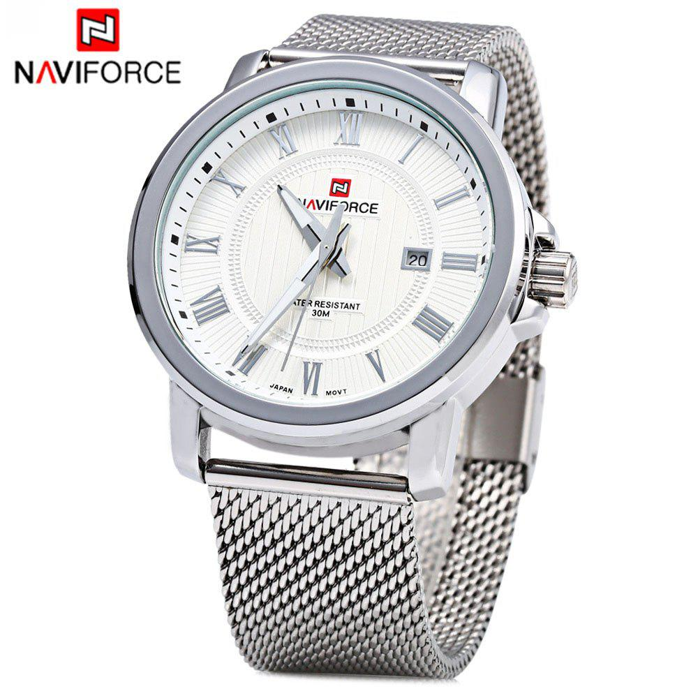 Naviforce 9052 Men Quartz Watch Stainless Steel Band Date Display - WHITE / SILVER