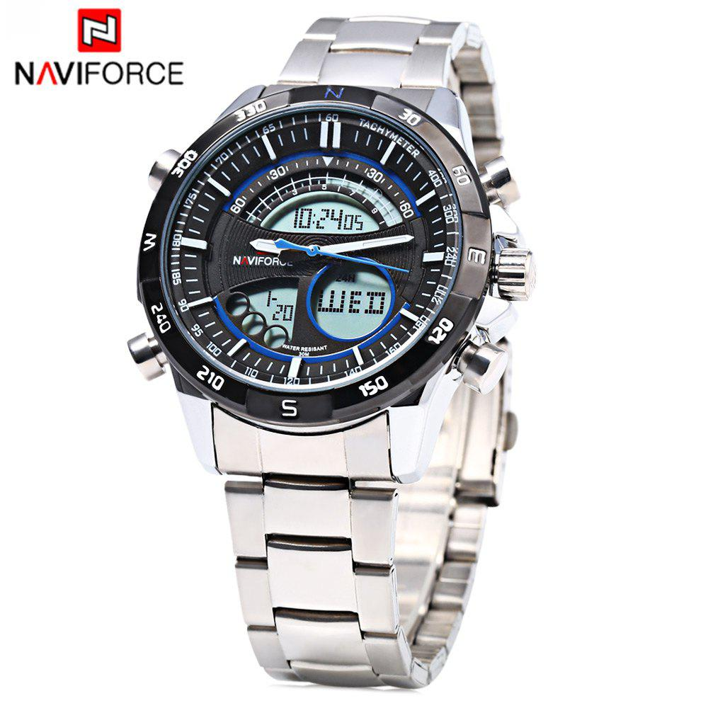 Naviforce 9031 Men Quartz Watch LED Wristwatch Stainless Steel Band Calendar -