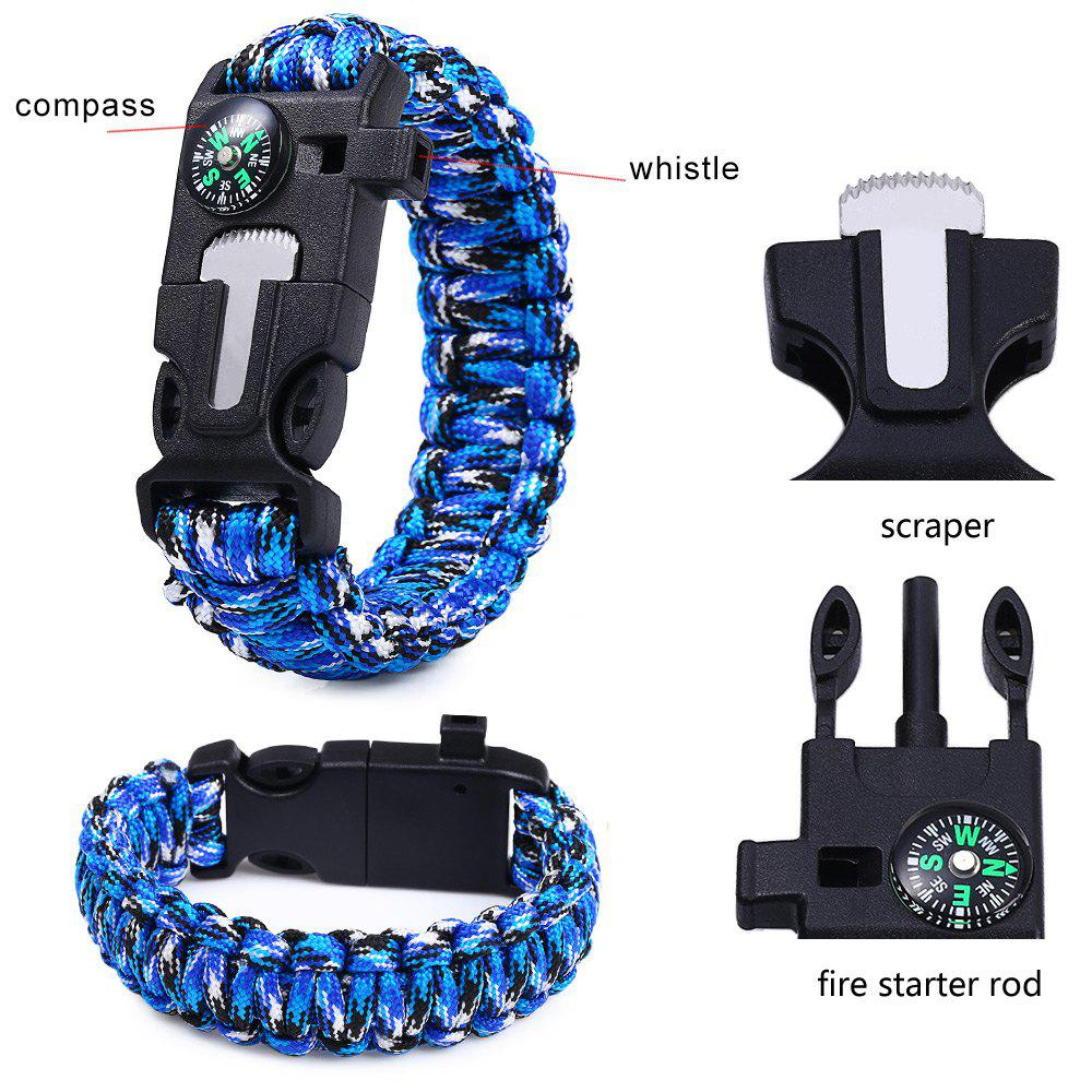5 in 1 Outdoor Paracord Bracelet / Fire Starter / Whistle / Compass - BLUE