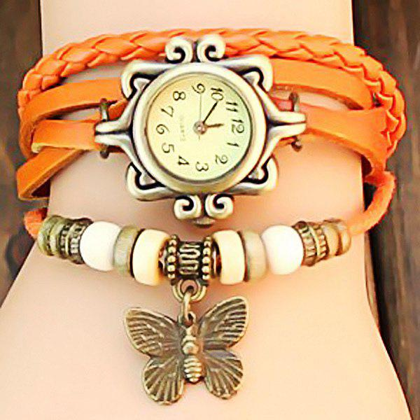 Retro Quartz Watch with Butterfly Round Dial and Knitting Leather Watch Band for Women