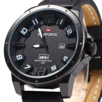 Naviforce 9061 Men Quartz Watch with Day Date Function - BLACK
