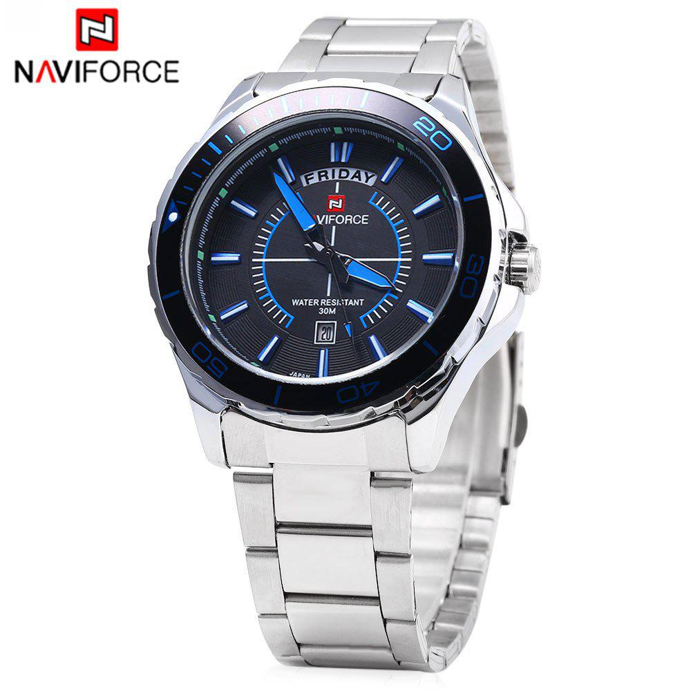 Naviforce 9053 Men Quartz Watch Stainless Steel Band Day Date Display -