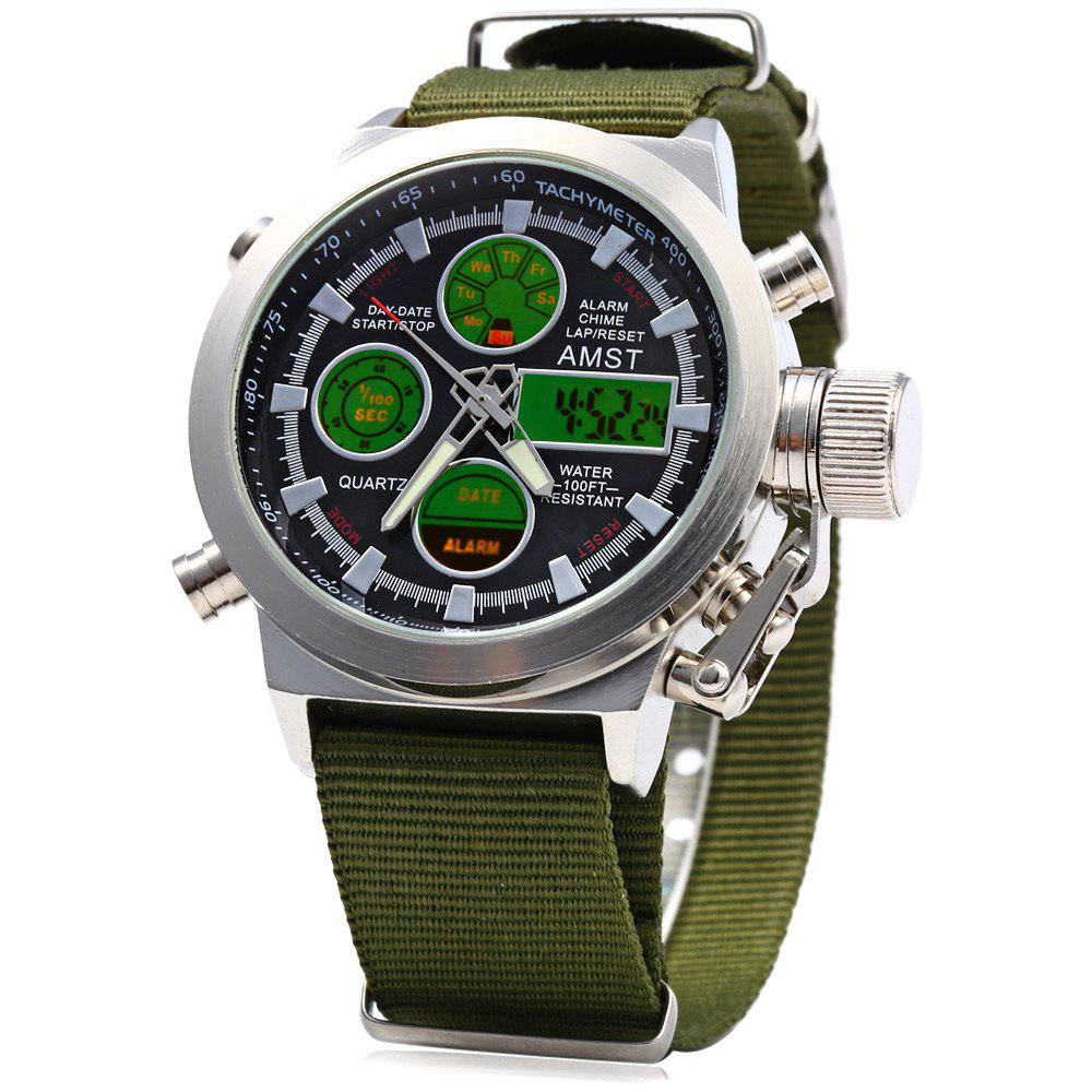 AMST AM31003 Double Movt Male LED Sports Watch with Canvas Band