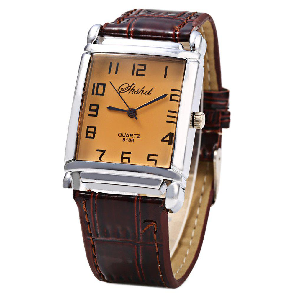 Shshd 8186 Leather Band Men Quartz Watch - BROWN