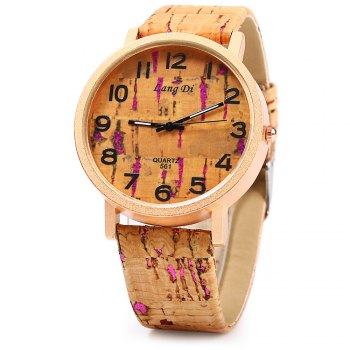 Lang Di 561 Quartz Women Wood-like Watch Leather Band