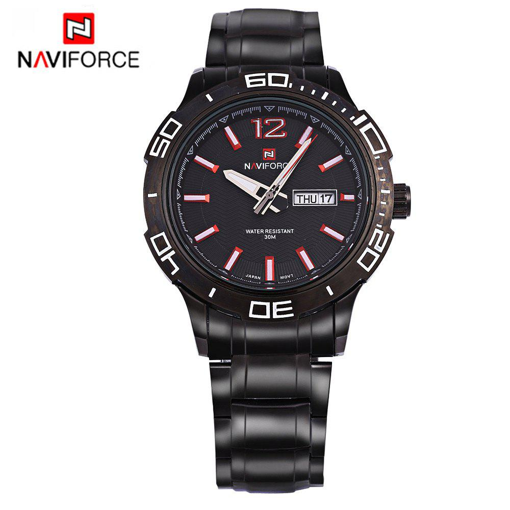Naviforce 9037 Men Quartz Watch Steel Band 30m Water Resistance Calendar -