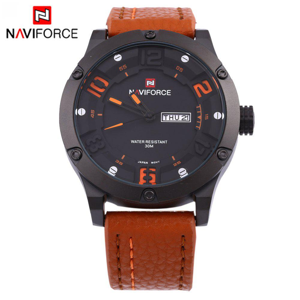 Naviforce 9070 Men Quartz Watch Leather Strap Calendar -