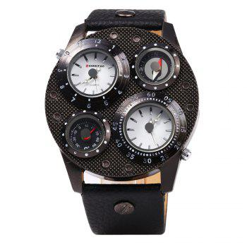 Shiweibao J1145 Double Quartz Movt Watch Compass Function Male Leather Band Wristwatch