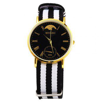 MINGBO B002 Male Watch Roman Numbers Hour Marks with Round Dial Colorful Canvas Band