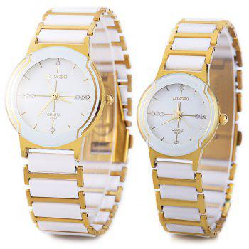 Longbo 8493 Couple Watches Quartz Wristwatch Stainless Steel Band