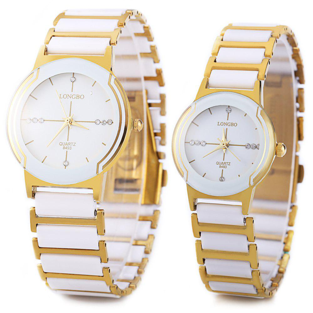 Longbo 8493 Couple Watches Quartz Wristwatch Stainless Steel Band - WHITE/GOLDEN