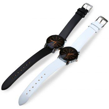 Women Quartz Watch Line Dial Leather Band - WHITE