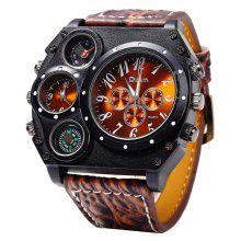 Oulm Male Double Movt Watch Leather Strap with Compass and Decorative Thermometer