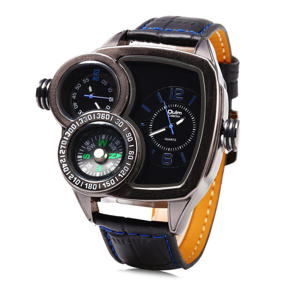 Oulm 3670 Fashion Male Double Movt Leather Strap Watch with Compass - BLUE