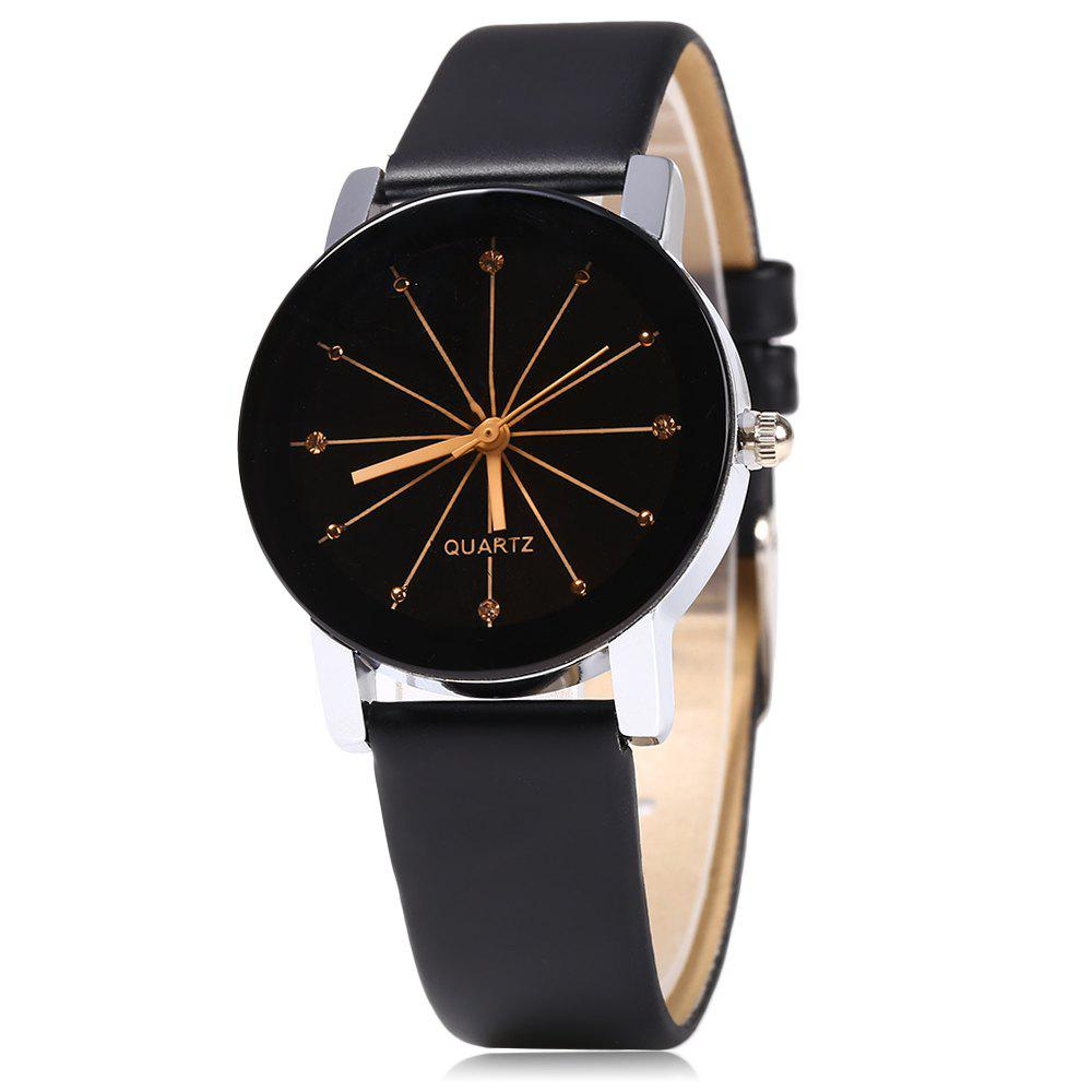 Women Quartz Watch Line Dial Leather Band - BLACK