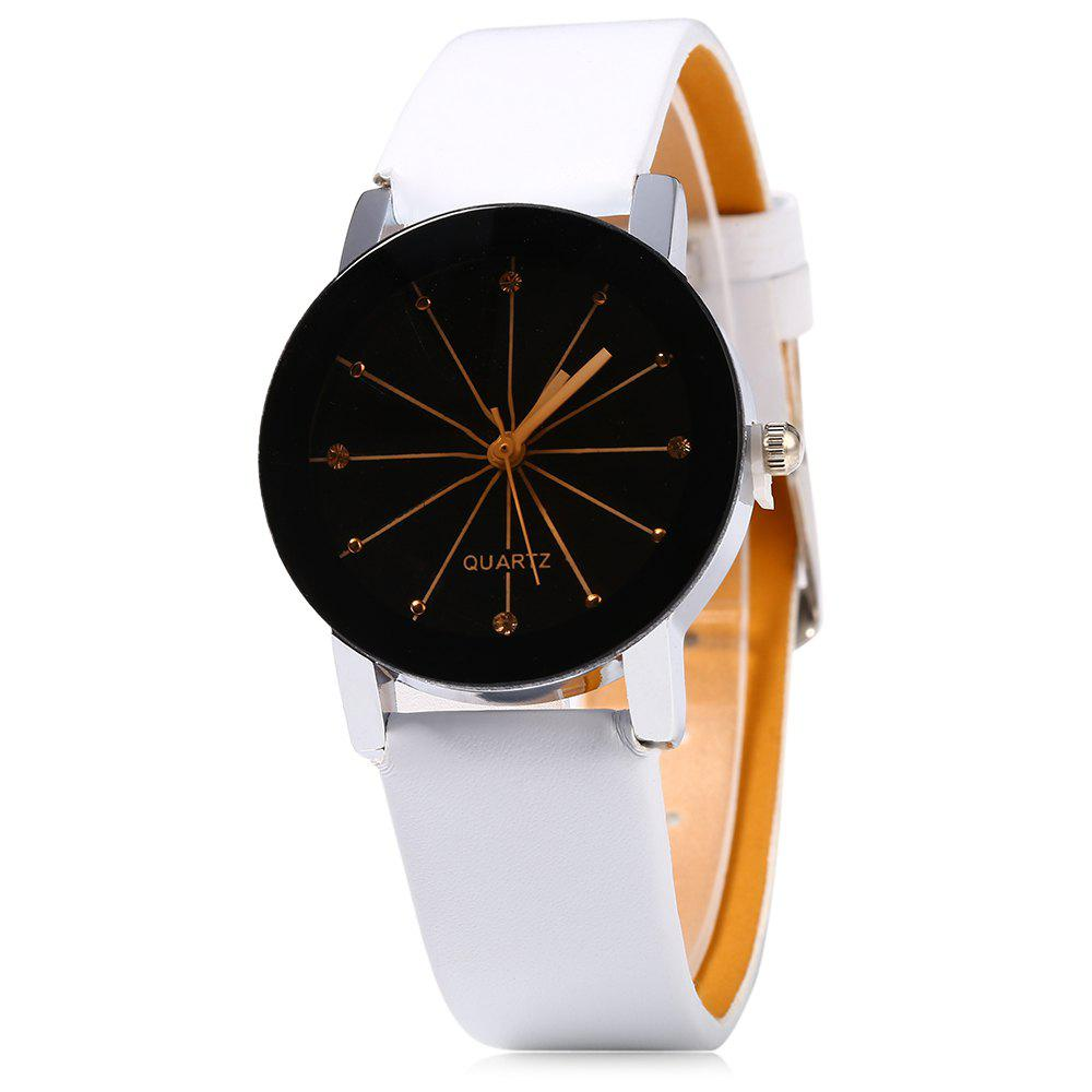 Women Quartz Watch Line Dial Leather Band quartz watch with small diamond dots indicate leather watch band hearts pattern dial for women