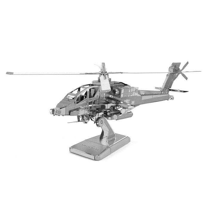 Apache Fighter Plane Metallic Building Puzzle Educational DIY Assembling Toy solar military transport plane baron p320 jigsaw puzzle building blocks environmental diy toy