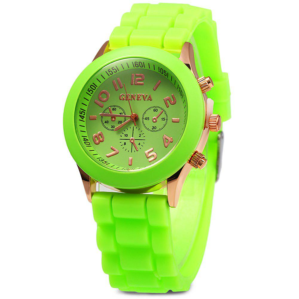 Geneva  Women Candy Color Quartz Watch with Round Dial Analog Indicate Rubber Watch Band - NEON GREEN