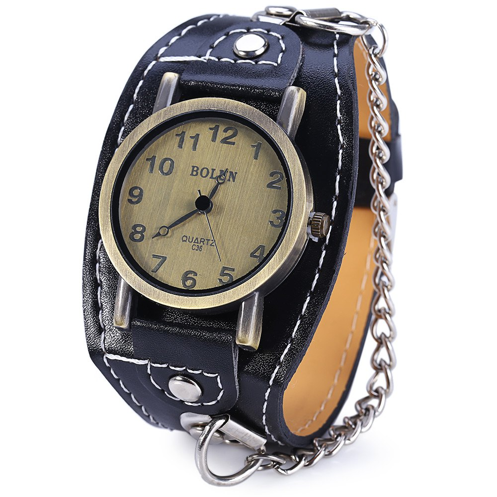BOLUN C36 Vintage Color Dial Wide Leather Band Quartz Male Watch with Chain - BLACK