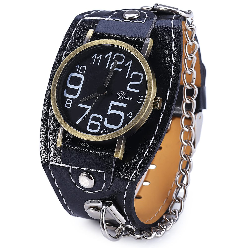 Visec 931 Big Number Wide Leather Band Quartz Male Watch with Chain - BLACK